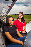 Leigh Ann Bowen and Chase Pinckney, photographed for Aviation for Women magazine at Briscoe Field (LZU), in Lawrenceville, Ga.