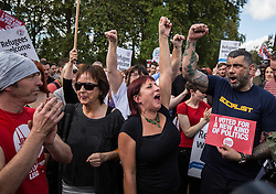 © Licensed to London News Pictures. 12/09/2015. London, UK. Supporters of Jeremy Corbyn celebrate at Speakers Corner after news of his victory in the Labour leadership contest is announced.  Photo credit : James Gourley/LNP