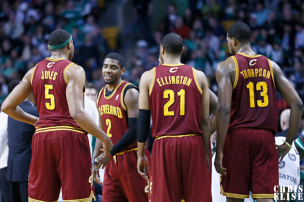 05 April 2013: Cleveland Cavaliers point guard Kyrie Irving (2), Cleveland Cavaliers power forward Kevin Jones (5), Cleveland Cavaliers shooting guard Wayne Ellington (21), Cleveland Cavaliers power forward Tristan Thompson (13) are seen during the Cleveland Cavaliers 97-91victory over the Boston Celtics at the TD Garden, Boston, Massachusetts, USA.