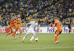 September 14, 2017 - Kiev, Ukraine - Viktor Tsygankov of Dynamo Kiev vies Gledi Mici Skenderbeu of during the UEFA Europa League Group B football match between FC Dynamo Kiev and KF Skenderbeu at the Olimpiyskyi Stadium in Kiev on September 14, 2017. (Credit Image: © Sergii Kharchenko/NurPhoto via ZUMA Press)