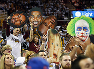 April 17, 2017 - Cleveland, OH, USA - Cleveland Cavaliers fans hold up signs to try and distract Indiana Pacers forward Paul George while shooting foul shots during the second quarter in Game 2 of an Eastern Conference playoff game on Monday at Quicken Loans Arena in Cleveland, Ohio. (Credit Image: © Leah Klafczynski/TNS via ZUMA Wire)
