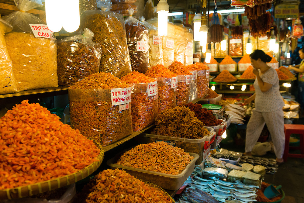 Dried fish at market stall in Saigon