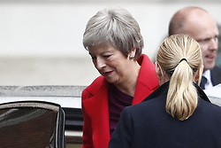 © Licensed to London News Pictures. 03/12/2018. London, UK. London, UK. Prime Minister Theresa May arrives at the back entrance to Downing Street. Later the prime minister will brief parliament on the G20 meeting in Argentina. Photo credit: Peter Macdiarmid/LNP