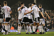Fulham players celebrating after Fulham midfielder Floyd Ayite (11) scores 1-1 during the EFL Sky Bet Championship match between Fulham and Derby County at Craven Cottage, London, England on 17 December 2016. Photo by Matthew Redman.