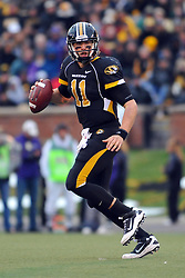 Nov 13, 2010; Columbia, MO, USA; Missouri Tigers quarterback Blaine Gabbert (11) drops back to pass in the second half against the Kansas State Wildcats at Memorial Stadium. Missouri won 38-28.  Mandatory Credit: Denny Medley-US PRESSWIRE