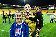 TJ Perenara with a fan after  the super rugby union  game between Hurricanes  and Highlanders, played at Westpac Stadium, Wellington, New Zealand on 24 March 2018.  Hurricanes won 29-12.