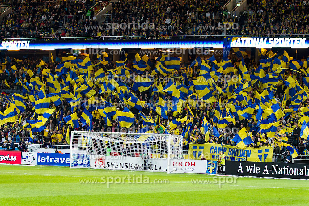 15.10.2013, Friends Arena, Stockholm, SWE, FIFA WM Qualifikation, Schweden vs Deutschland, Gruppe C, im Bild, Swedish fans,  // during the FIFA World Cup Qualifier Group C Match between Sweden and Germany at the Friends Arena, Stockholm, Sweden on 2013/10/15. EXPA Pictures &copy; 2013, PhotoCredit: EXPA/ PicAgency Skycam/ Michael Campanella<br /> <br /> ***** ATTENTION - OUT OF SWE *****