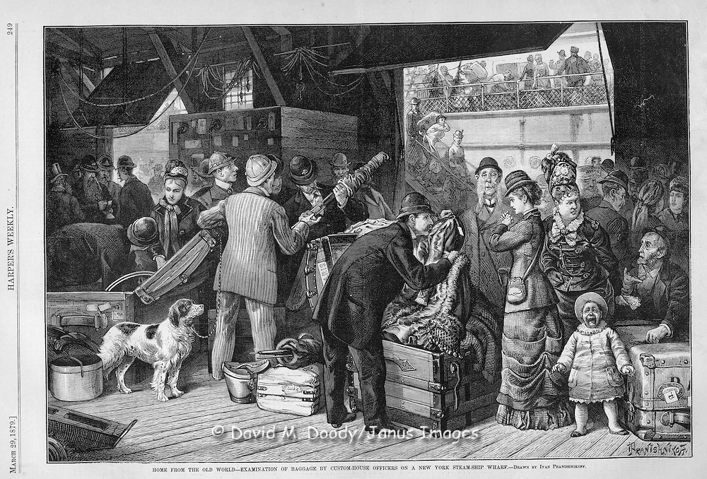 Customs Officers inspect immigrants baggage at the New York custom-house Harper's Weekly May, 1879