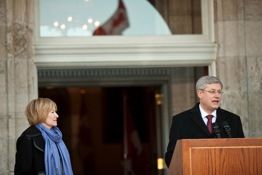 Prime Minister Stephen Harper makes a statement at Rideau Hall in Ottawa, Ontario, Saturday March 25, 2011 following a meeting with Governor General David Johnston to disolve Parliament so there can be an election. The Conservative government was defeated, found in contempt of Parliament, in anon-confidence vote Friday. Canadians will be heading to the polls in May.<br /> AFP/GEOFF ROBINS/STR