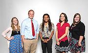 L-R: Teacher Bloggers Natalie Nelson, Chavez HS 12th, Michael Bennett, Cage ES 2nd, Brandi Latimer, Hilliard ES 3rd, and Mariela Niland, YWCPA 8th, Shelbi Craig, YWCPA 7th, pose for a photograph, August 21, 2013.