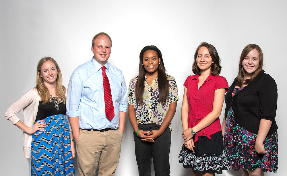 L-R: Teacher Bloggers Natalie Nelson, Chavez HS 12th, Michael Bennett, Cage ES 2nd, Brandi Latimer, Hilliard ES 3rd, and Mariela Niland, YWCPA 8th, Shelbi Craig, YWCPA 7th, pose for a photograph, August 21, 2013.
