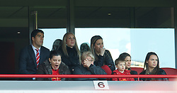LIVERPOOL, ENGLAND - Sunday, May 19, 2013: Liverpool's banned Luis Alberto Suarez Diaz watches from an executive box during the final Premiership match of the 2012/13 season against Queens Park Rangers at Anfield. (Pic by David Rawcliffe/Propaganda)