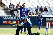 Claude Hendersen of the Cobras celebrates the wicket of Farhaan Behardien of the Titans during the Standard Bank Pro20 semi final match between the Nashua Mobile Cape Cobras and the Nashua Titans held at Sahara Park Newlands in Cape Town on the 27 February 2011..Photo by Ron Gaunt/SPORTZPICS