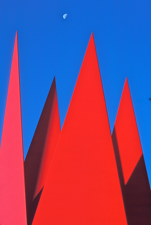 Twenty foot red steel points, a detail of Crystal Lattice by Sculpter Robert Pfitzenmeier, stand near the entrance to the Anchorage Museum of History and Art.