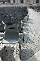 Empty chairs at the Vatican, Rome, Italy after Papel audience<br />