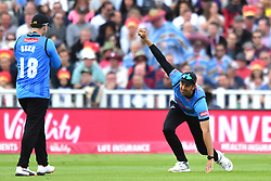 Sussex Sharks' David Wiese (right) celebrates taking the catch of Somerset's James Hildreth during the Vitality T20 Blast Semi Final match on Finals Day at Edgbaston, Birmingham.