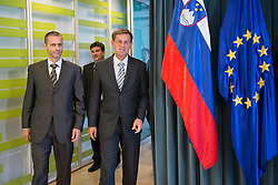 Aleksander Ceferin, newly elected president of UEFA and Miro Cerar, Prime Minister of Slovenia, at their meeting on October 7, 2016 in Ljubljana, Slovenia. Photo by Bor Slana / Sportida
