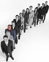 Portrait of multi-ethnic business team standing in line