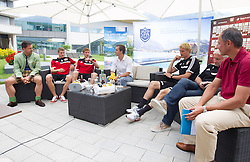 15.07.2013, Tauern SPA, Kaprun, AUT, Bayer 04 Leverkusen Trainingslager, im Bild vl. Christoph Bruendl (TVB Zell am See Kaprun), Lars Bender, (Bayer 04 Leverkusen), Attila Varga, (LASK Linz), Dirk Mesch (Pressesprecher Leverkusen, Sami Hyypiae, (Trainer, Bayer 04 Leverkusen) , Rudi Voeller (Sportdirektor, Bayer 04 Leverkusen) und Leo Bauernberger (Salzburger Land Tourismus) waehrend der Pressekonferenz // during a Pressconference of the German Bundesliga Club Bayer 04 Leverkusen at the Hotel Tauern SPA, Kaprun, Austria on 2013/07/15. EXPA Pictures © 2013, PhotoCredit: EXPA/ Juergen Feichter