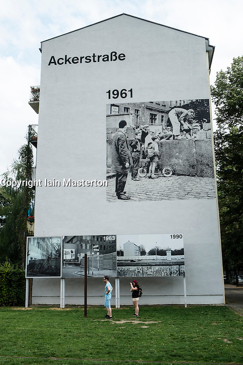 Mural on building as memorial to location of former death strip of Berlin Wall on Bernauer Strasse and Ackerstrasse in Berlin Germany