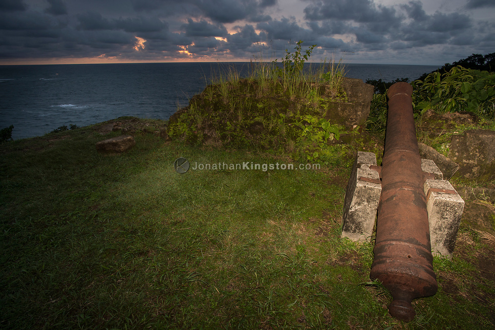 A Spanish cannon points to sea from Fort San Lorenzo, Panama.