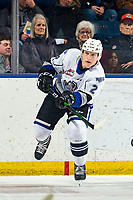 KELOWNA, BC - MARCH 11: Jacob Herauf #2 of the Victoria Royals completes a pass against the Kelowna Rockets at Prospera Place on March 11, 2020 in Kelowna, Canada. (Photo by Marissa Baecker/Shoot the Breeze)