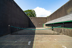 Exterior of Royal Tennis court at Falkland Palace in Falkland, Fife, Scotland, UK