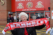 A long term Tyke with her scarf during the Sky Bet League 1 play-off second leg match between Walsall and Barnsley at the Banks's Stadium, Walsall, England on 19 May 2016. Photo by Dennis Goodwin.