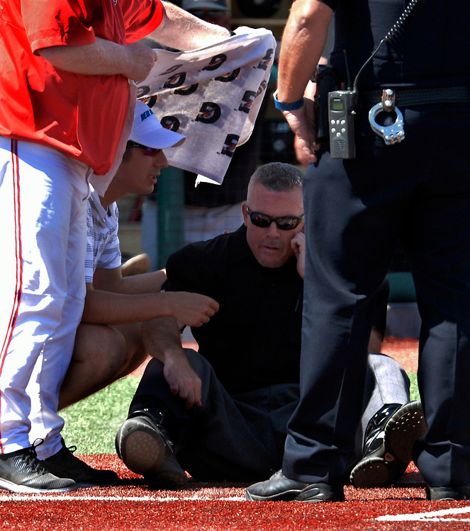 gbs032217dd/SPORTS -- Home plate umpire Mike Pierce recovers after bing beaned by a Grand Canoyon  pitch in the third second inning of the game at the Santa Ana Star Field on Wednesday, March 22, 2016. (Greg Sorber/Albuquerque Journal)