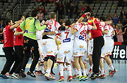 Spain players celebrate after winning the EHF 2018 Men's European Championship, 1/2 final Handball match between France and Spain on January 26, 2018 at the Arena in Zagreb, Croatia - Photo Laurent Lairys / ProSportsImages / DPPI