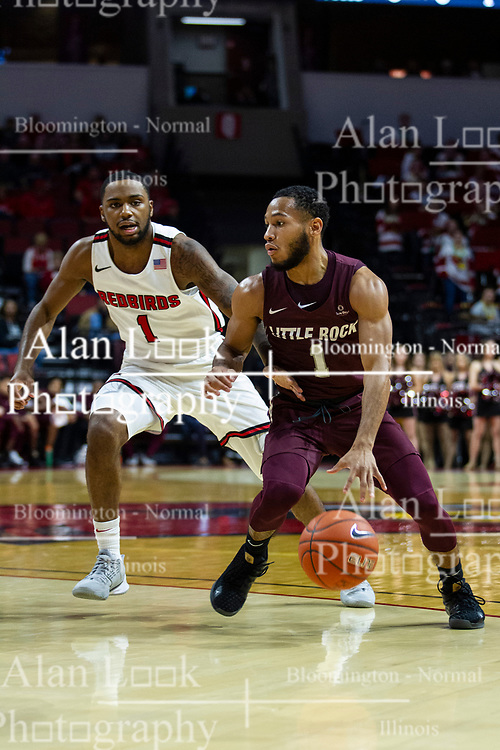NORMAL, IL - November 10: Markquis Nowell defended by Dedric Boyd during a college basketball game between the ISU Redbirds and the Little Rock Trojans on November 10 2019 at Redbird Arena in Normal, IL. (Photo by Alan Look)