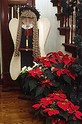 Christmas decorations with angel & pointsettias by grandfather clock & stairs