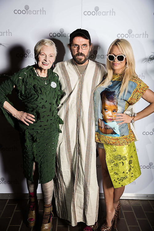 Dame Vivienne Westwood, Andreas Kronthaler &amp; Pamela Anderson attend Cool Earth event at the Barbican attended by Dame Vivienne Westwood, Andreas Kronthaler, Pamela Anderson &amp; Marky Ramone on 24 September 2015.<br /> Photos Ki Price