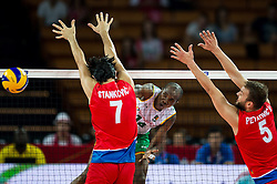 07.09.2014, Centennial Hall, Breslau, POL, FIVB WM, Serbien vs Kamerun, Gruppe A, im Bild Dragan Stankovic serbia #7 Nathan Wounembaina cameroon #14 Vlado Petkovic serbia #5 // Dragan Stankovic serbia #7 Nathan Wounembaina cameroon #14 Vlado Petkovic serbia #5 // during the FIVB Volleyball Men's World Championships Pool A Match beween Serbia and Cameroon at the Centennial Hall in Breslau, Poland on 2014/09/07. EXPA Pictures © 2014, PhotoCredit: EXPA/ Newspix/ Sebastian Borowski<br /> <br /> *****ATTENTION - for AUT, SLO, CRO, SRB, BIH, MAZ, TUR, SUI, SWE only*****