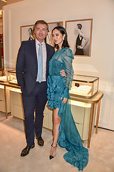 Laurent Feniou Managing Director of Cartier and Betty Bachz at reopening of the Cartier Boutique, New Bond Street, London, England. 31 January 2019. <br /> <br /> ***For fees please contact us prior to publication***