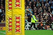 July 6th 2011: Anthony Minichiello of the Blues leaps for the ball during game 3 of the 2011 State of Origin series at Suncorp Stadium in Brisbane, QLD, Australia on July 6, 2011. Photo by Matt Roberts / mattrimages.com.au / QRL