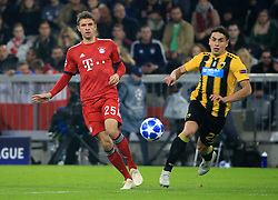 07.11.2018, Champions League, FC Bayern vs AEK Athen, Allianz Arena  Muenchen,  Fussball, Sport, im Bild:..Thomas Mueller (FCB) vs Ezequiel Ponce ( AEK Athen )...DFL REGULATIONS PROHIBIT ANY USE OF PHOTOGRAPHS AS IMAGE SEQUENCES AND / OR QUASI VIDEO...Copyright: Philippe Ruiz..Tel: 089 745 82 22.Handy: 0177 29 39 408.e-Mail: philippe_ruiz@gmx.de. (Credit Image: © Philippe Ruiz/Xinhua via ZUMA Wire)