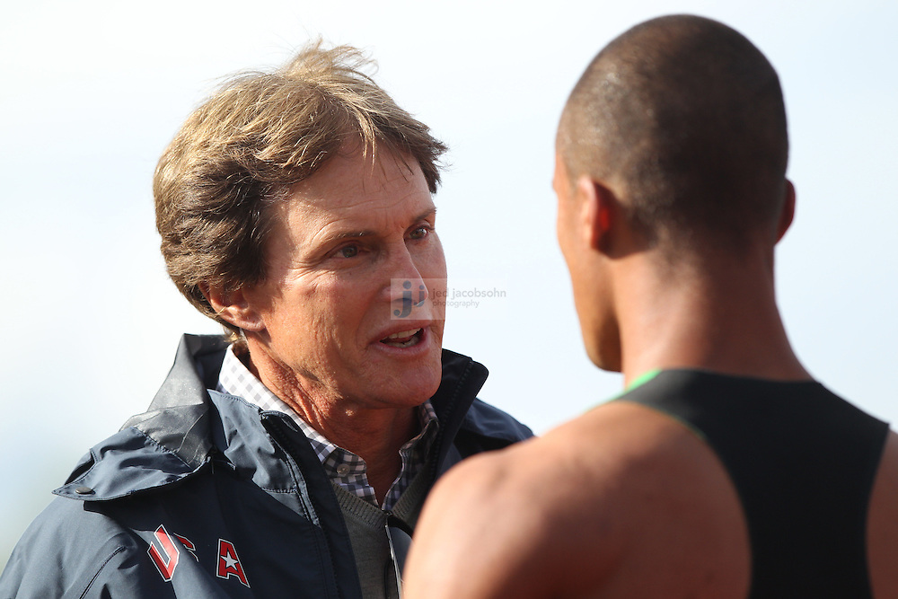 Ashton Eaton (R) speaks with former Olympian Bruce Jenner, after finishing the 1500m portion of the decathlon for a world record during day 2 of the U.S. Olympic Trials for Track & Field at Hayward Field in Eugene, Oregon, USA 23 Jun 2012..(Jed Jacobsohn/for The New York Times)....