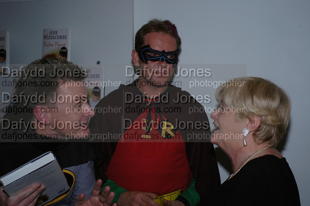 """Jason Hatch, ( Buckingham Palace Batman) Martin Matthews and  Anne Widdecombe.  Anne Widdecombe book launch party for the publication of """"Father Figure"""", at Waterstone's Piccadilly on January 11, 2005.. ONE TIME USE ONLY - DO NOT ARCHIVE  © Copyright Photograph by Dafydd Jones 66 Stockwell Park Rd. London SW9 0DA Tel 020 7733 0108 www.dafjones.com"""