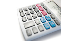 Close-up view of calculator on white background