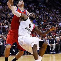 21 January 2012: Miami Heat small forward LeBron James (6) vies for the rebound with Philadelphia Sixers center Nikola Vucevic (8) during the Miami Heat 113-92 victory over the Philadelphia Sixers at the AmericanAirlines Arena, Miami, Florida, USA.