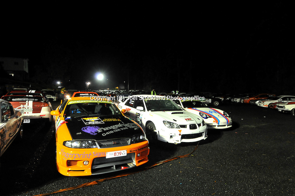 Strahan Overnight car park .Day 4.Targa Tasmania 2009.2nd of May 2009.(C) Joel Strickland Photographics.