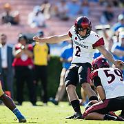 07 September 2019: San Diego State Aztecs place kicker Matt Araiza (2) makes a 25 yard field goal in the fourth quarter. The Aztecs beat the Bruins 23-14 Saturday at the Rose Bowl in Pasadena, California. (Credit: Derrick Tuskan/San Diego State)<br /> More game action at sdsuaztecphotos.com