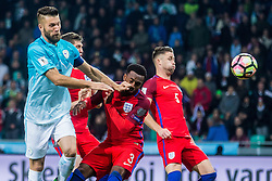 Bostjan Cesar of Slovenia and Danny Rose of England during football match between National teams of Slovenia and England in Round #3 of FIFA World Cup Russia 2018 qualifications in Group F, on October 11, 2016 in SRC Stozice, Ljubljana, Slovenia. Photo by Grega Valancic / Sportida