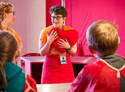 City Arts Centre, Edinburgh, Scotland, United Kingdom, 9 April 2019. Edinburgh Science Festival:  Children have fun learning about blood at the Blood Bar drop in event with Science Communicators Emma and Hannah at the Science Festival. <br /> Sally Anderson | EdinburghElitemedia.co.uk