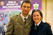 (L) MARCIN MARCINISZYN (400 M) & (R) MARTA JESCHKE (SPRINT) DURING MILITARY SPORT'S GALA 2009 IN THE POLISH ARMY GENERAL STAFF IN WARSAW, POLAND..WARSAW , POLAND , MARCH 31, 2010..( PHOTO BY ADAM NURKIEWICZ / MEDIASPORT )..PICTURE ALSO AVAIBLE IN RAW OR TIFF FORMAT ON SPECIAL REQUEST.
