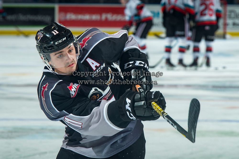 KELOWNA, BC - JANUARY 4: Tyler Preziuso #11 of the Vancouver Giants takes a shot during warm up against the Kelowna Rockets at Prospera Place on January 4, 2020 in Kelowna, Canada. (Photo by Marissa Baecker/Shoot the Breeze)