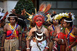 "© Licensed to London News Pictures. 24/09/2018. LONDON, UK. Members from Fiji and Ngati Ranana, the London Maori Club, take part in a ceremonial procession and blessing ceremony for the forthcoming ""Oceania"" exhibition at the Royal Academy of Arts.  The exhibition runs 29 September – 10 December 2018, representing the art of Melanesia, Micronesia and Polynesia, encompassing the vast Pacific region from New Guinea to Easter Island, Hawaii to New Zealand.  Photo credit: Stephen Chung/LNP"