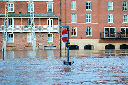 © Licensed to London News Pictures. 10/02/2020. York UK. The River Ouse in York has broken its banks after heavy overnight rainfall from Storm Ciara, a flood warning remains in place with the river level expected to rise further. Photo credit: Andrew McCaren/LNP