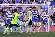 Reading's Michael Hector clears the danger during the Sky Bet Championship match between Reading and Brighton and Hove Albion at the Madejski Stadium, Reading, England on 31 October 2015. Photo by Mark Davies.